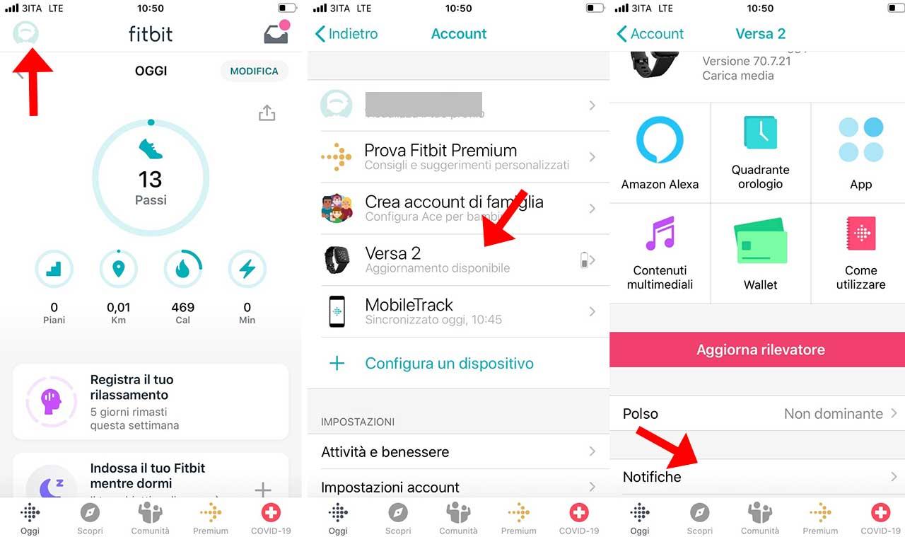 Messaggi su Fitbit Versa 2